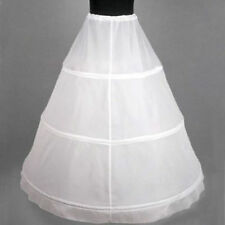 White 3-HOOP Ball Gown BONE FULL CRINOLINE PETTICOAT WEDDING SKIRT SLIP