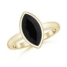 Sugarloaf Cut Marquise Black Onyx Solitaire Ring in 14K Yellow Gold Size 3-13