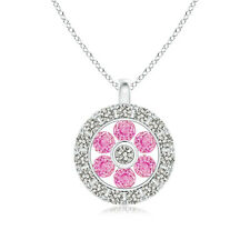 "Pink Sapphire Flower Pendant Necklace with Diamond Halo 14K White Gold 18"" Chain"
