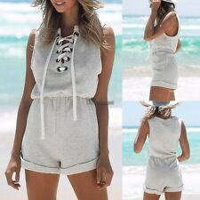 New Women Sleeveless Short Jumpsuit Lace-up Elastic Waist Solid Casual WT8803