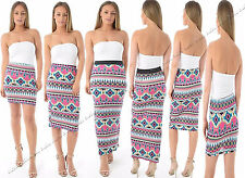NEW WOMENS LADIES AZTEC TRIBAL PRINT STRETCH MIDI MAXI MINI SKIRT PLUS SIZE 8-22