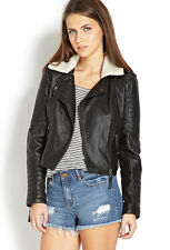 Forever 21 Black  Faux Leather Moto Shearling Collar Jacket Small