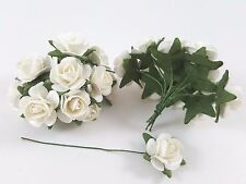 White 20mm Mulberry Paper Flower With Wire Stems Scrapbook Rose Flowers Bouquet