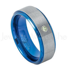 Blue Tungsten Ring, 0.07ct Peridot Solitaire Ring,August Birthstone Ring #744