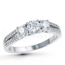 Ladies 3-Stone Bridal Ring, Rhodium Plated 925 Sterling Silver Engagement Ring