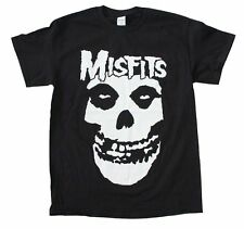 Misfits White Skull Big Print T-Shirt Music Punk Rock Band Cotton Black Tee