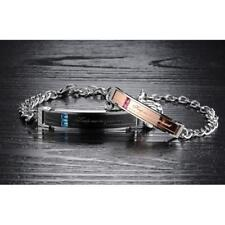 """""""Keep me in your heart""""316L Stainless Steel Chain Couple Bangle Bracelet Jewelry"""