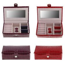 Alligator Pattern Faux Leather Portable Mirror Travel Jewelry Box Purple/Red