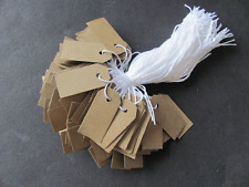 "100 Jewelry Party Gift Price Hang Tags w/ Knotted White String 5/8"" x 1-3/8"""