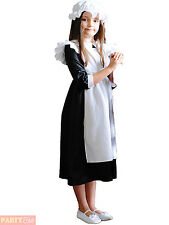 Girls Maid Costume Childs Historical Victorian Nightingale Fancy Dress Outfit
