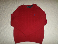 POLO RALPH LAUREN CABLE KNIT SWEATER MENS SIZE M CREWNECK RED COLOR NEW NWT