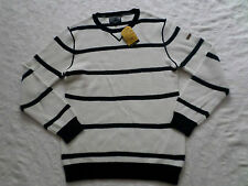 NAUTICA SWEATER MENS CREW-NECK SIZE XL LONG SLEEVES WHITE & BLACK NEW WITH TAGS