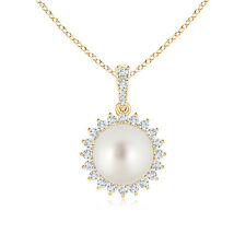 Vintage-Style South Sea Cultured Pearl Pendant with Diamond Halo 14K Yellow Gold