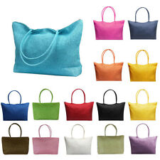 Women Simple Candy Color Large Medium Straw Beach Bags Casual Shoulder Bags