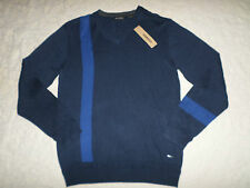 DKNY JEANS SWEATER MENS SIZE L V-NECK NAVY & BLUE COLOR LONG SLEEVES NEW NWT