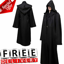 Men Hooded Robe Cloak Adult Kids Cool Costume Movie Jedi Sith Black Star Wars