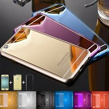Front Back Mirror Tempered Glass Metal Bumper Frame Case For iPhone 7 6 5 4 Plus