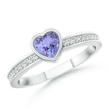 Natural Heart Tanzanite Promise Ring with Diamond 14K White Gold Size 3-13