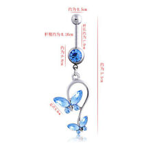 Jewelry Navel Ring Surgical Steel 1Pcs Crystal Double Butterfly Rhinestones