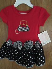 NWT BONNIE JEAN Red & Black Gingham PURSE PEARL one piece DRESS Size 12 mo OR 2T