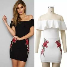 New Fashion Style Women's Sexy Slim Embroider Dress Off-Shoulder Strapless Skirt