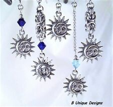 Celestial Sun Moon Women's Charmed Chain Dangle Earrings Silver Jewelry Fashion