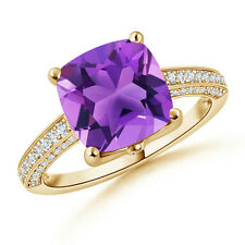 Cushion-Cut Amethyst with Diamond Accent Cocktail Ring 14k Yellow Gold Size 3-13