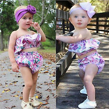Infant Baby Girls Floral Lace Strapless Ruffle Tube Top+Shorts Clothes 2Pcs Set
