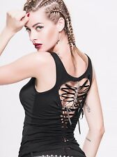 Punk Gothic Women Back Hollow Out Vest Black Sleeveless Sexy Corset Tank Tops