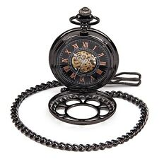 Steampunk Mens Mechanical Pocket Watch Vintage Pendant Black Dial FOB Watch New
