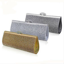 Designer Wedding Bridal Crystal Rhinestone Evening Clutch Bag Handbag Purse Hard