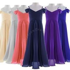 Flower Girls Pleated Chiffon Princess Pageant Wedding Birthday Bridesmaid Dress