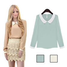 Fashion Long Sleeve Casual Sweet Women Chiffon Hot Blouse Doll Collar