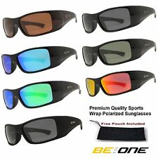 Mens BeOne Premium Quality Sports Wrap Black Wide Temple Polarized Sunglasses