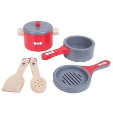 Bigjigs Toys Wooden Cooking Pans Set with Wooden Spoon and Spatula - Pretend Pla