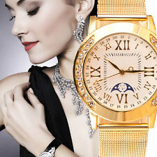 4 Style Women Luxury Crystal Gold Stainless Steel Mesh Band Dress Wrist Watches