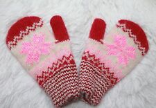 NEW Baby winter mittens homemade knitted 100% pure sheep wool craft warm
