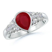 Natural Pear Shaped Ruby Vintage-Style Ring And Diamond 14K White Gold Size 3-13