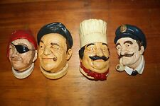 Vintage Chalkware Wall Head Characters, Bossons Like Replicas