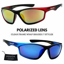 Xloop Polarized Clear Color Frame Sports Wrap Small Face Sunglasses