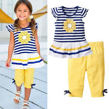 Lovely Baby Girls Kids Clothes Short Sleeves T-Shirt+Trousers Pants Outfits Sets