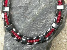 TRIPLE Row Magnetic Hematite Necklace Bracelet Anklet w Red Siam Bi-Cones