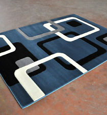New Dark Blue Contemporary Hand Carved 3-D Cubic Geometric Polyester Area Rug