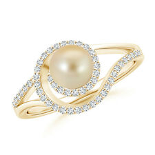 Golden Japanese Cultured Pearl Halo Engagement Ring with Diamond 14K Yellow Gold