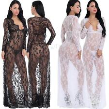 Sexy Women Lingerie Deep V Neck Long Sleeve Lace Transparent Bodycon Maxi Dress