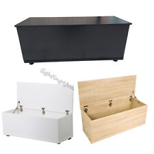 Large Ottoman Storage Chest Toy Bedding Box Wooden Bench Trunk Black White Oak