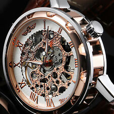 Luxury Mens Leather Band Skeleton Mechanical Stainless Steel Dress Wrist Watches