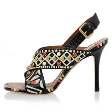 VALENTINO GARAVANI New Woman Multi Color Studs Leather Sandals Shoes Made Italy
