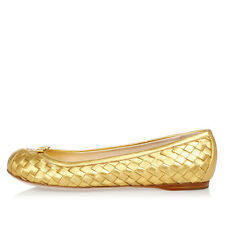 BALENCIAGA new Woman Shoes Leather gold Ballet Flat Made in Italy