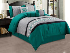 7PC Comforter Set Teal Floral Modern with Bed Skirt Pillow Shams Square PilloW